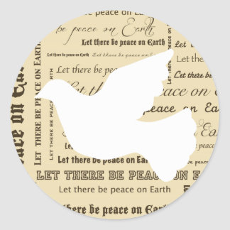 Peace on Earth Typography, Dove Classic Round Sticker