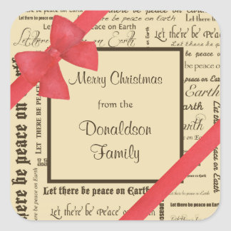 Peace on Earth Typography, Red Bow Square Sticker