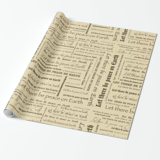 peace on earth typography wrapping paper zazzle
