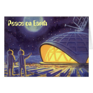 Peace on Earth Vintage Christmas Science Fiction Card