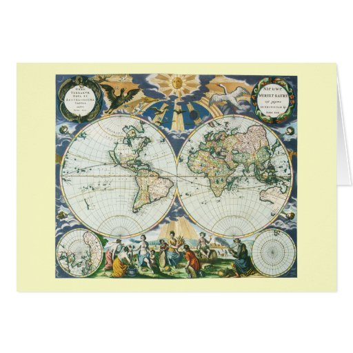 Peace on Earth, Vintage Old World Map Christmas Greeting Card | Zazzle