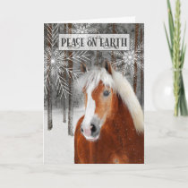 Peace on Earth Winter Horse in the Woods Holiday Card
