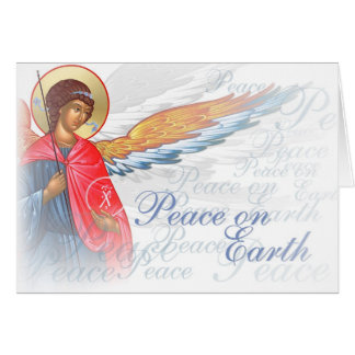 """Peace on Earth"" with Angel and Nativity scene Greeting Card"