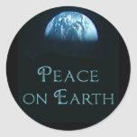 Peace on Earth with Image of Earth from Space Round Stickers