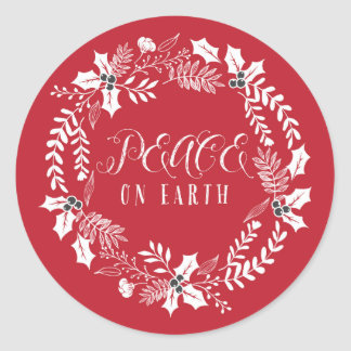 Peace on Earth Wreath Holiday Classic Round Sticker