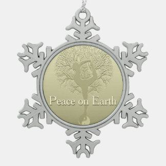 Peace on Earth Yoga Tree Snowflake Pewter Christmas Ornament