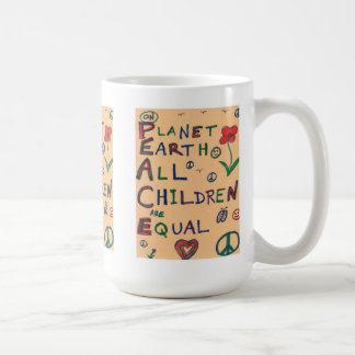 PEACE - On Planet Earth All Children Are Equal Classic White Coffee Mug