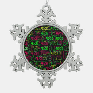 Peace Snowflake Pewter Christmas Ornament