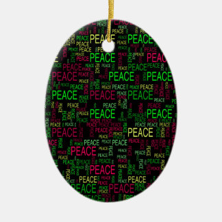 Peace Double-Sided Oval Ceramic Christmas Ornament