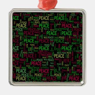 Peace Square Metal Christmas Ornament