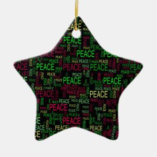 Peace Double-Sided Star Ceramic Christmas Ornament