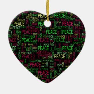 Peace Double-Sided Heart Ceramic Christmas Ornament
