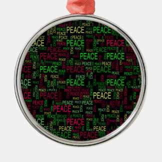 Peace Round Metal Christmas Ornament