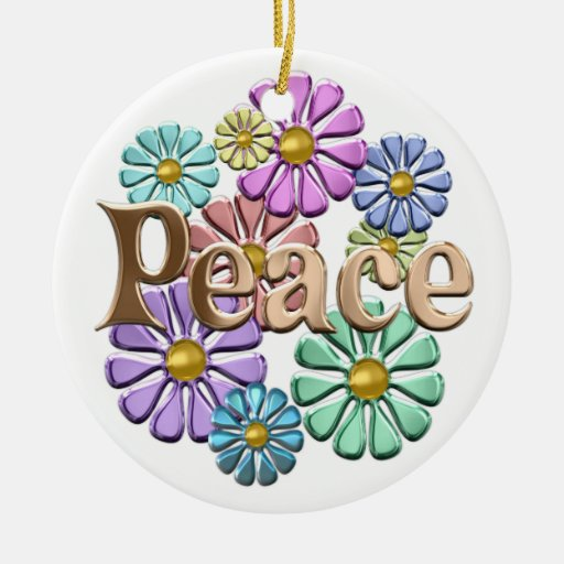 PEACE Double-Sided CERAMIC ROUND CHRISTMAS ORNAMENT