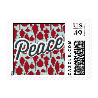 Peace Ornaments - Red & Light Blue Postage