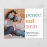 Peace Out 2020 Photo Colorful Christmas New Year Holiday Postcard