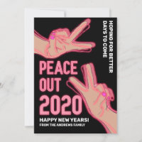 Peace Out 2020 Pink Neon Lights Happy New Years Holiday Card