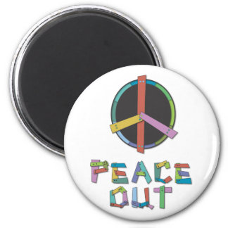 Peace Out 2 Inch Round Magnet