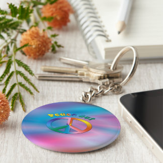 Peace Out Basic Round Button Keychain