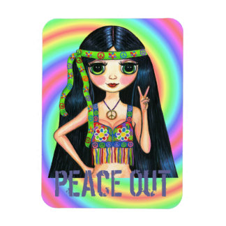 Peace Out Big Eye Hippie Girl Flashing Peace Sign Rectangular Photo Magnet