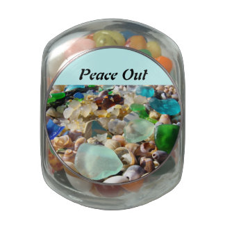 Peace Out gifts Friends Party Favors Jelly Bellies Glass Candy Jar