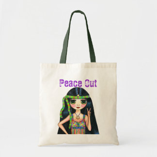 Peace Out Girl Hippie Flashing Peace Sign Budget Tote Bag