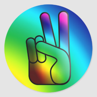 Peace Out Hand Sign Hippie Sticker