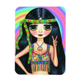 Peace Out Hippie Girl Big Eyed Cutie Rectangular Photo Magnet