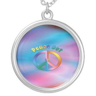 Peace Out Round Pendant Necklace