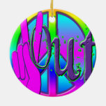 PEACE OUT Double-Sided CERAMIC ROUND CHRISTMAS ORNAMENT
