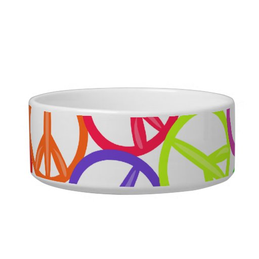Peace Out! Peace Sign Pattern Cat Bowls