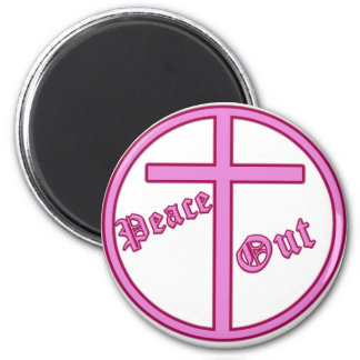 Peace Out Pink 2 Inch Round Magnet