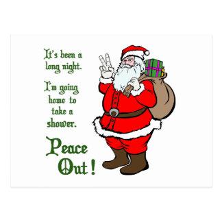 Peace Out Santa Postcard