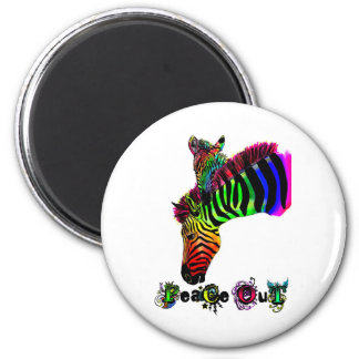 peace out zebra 2 inch round magnet