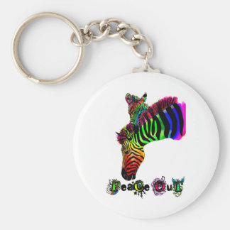 peace out zebra basic round button keychain