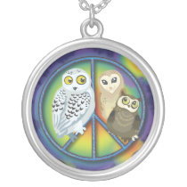 Peace Owl~necklace Silver Plated Necklace