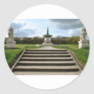 Peace Pagoda, Milton Keynes Round Stickers