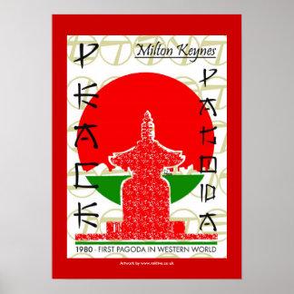 Peace Pagoda oriental poster art