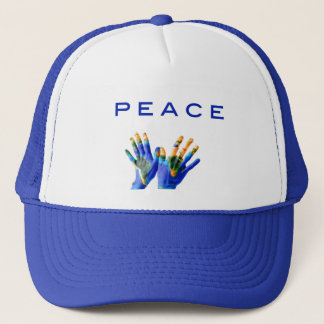 Peace, painted earth on hands by healing love trucker hat