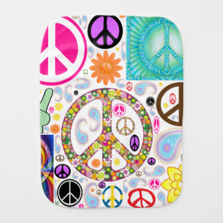 Peace & Paisley Collage Baby Burp Cloth