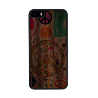 Peace Paisley Collage Carved® Walnut iPhone 5 Case