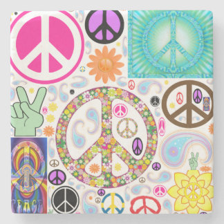 Peace & Paisley Collage Stone Beverage Coaster