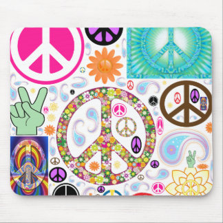 Peace & Paisley Collage Mouse Pad