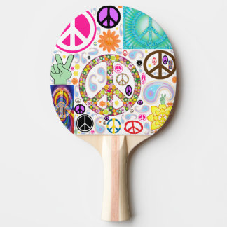 Peace & Paisley Collage Ping-Pong Paddle