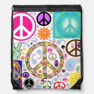 Peace & Paisley Collage Cinch Bags