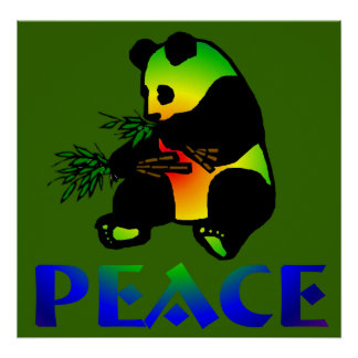 Peace Panda Bear Poster