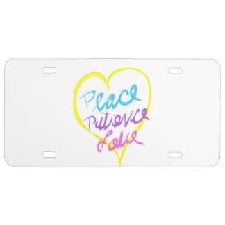 Peace Patience Love Heart License Plate