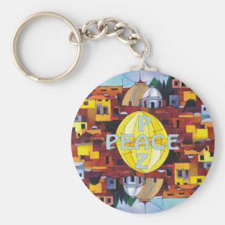 Peace-Paz Basic Round Button Keychain
