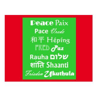 Peace Paz Christmas New Year Multi Language Postcard