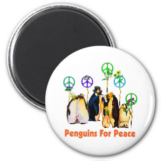 Peace Penguins 2 Inch Round Magnet